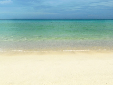 tropical beach 2, Beautiful gradation of tropical ocean and beach, from dark blue distant waters, through glowing turquoise and green ocean, to delicate pale sands