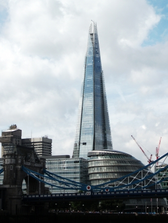 London with Shard, View of London from the river, with The Shard, and other modern architecture