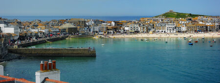 St Ives harbour panorama Stock Photo
