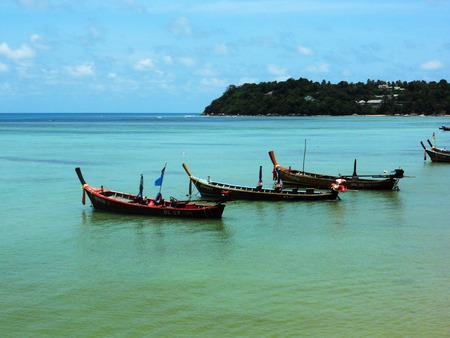 longtail boats thailand, A group of longtail boats near Rawai beach, Phuket, Thailand