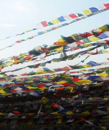 prayer flags in Kathmandu, Nepalese prayer flags Stock Photo
