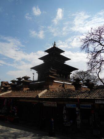 temple silhouette in Nepal, Kathmandu temple