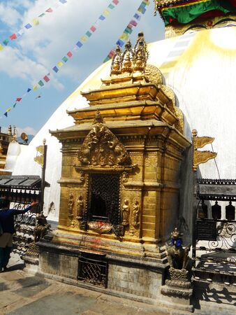 Gold Nepalese temple entrance, temple in Kathmandu Stock Photo