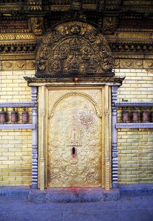 entranceway: Nepalese entranceway, old wooden doorway in Kathmandu, Nepal Stock Photo