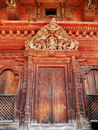 Traditional Nepalese temple doorway decoration, old temple decoration in Kathmandu
