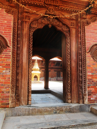 Traditional Nepalese temple architecture detail, old temple in Kathmandu Stock Photo