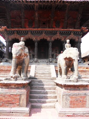 Traditional Nepalese architecture, old building and stairway in Kathmandu