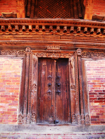 doorway: Nepalese doorway, old wooden doorway in Kathmandu, Nepal Stock Photo