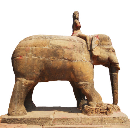 stone carving: Nepalese stone carving, elephant statue in Kathmandu temple