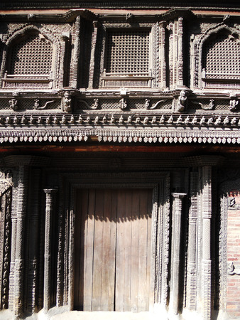 woodcarving: Nepalese woodcarving, closeup of carved wood on Nepalese architecture