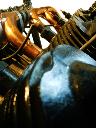 early aircraft engine closeup showing piston cooling fins