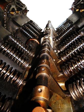 Early airplane engine, closeup Stock Photo
