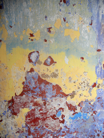 in layers: Abstract texture of layers of paint on an old wall Stock Photo