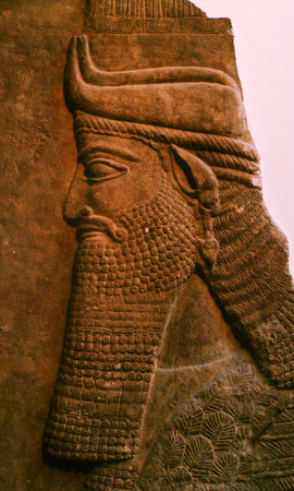 Ancient carving, bass-relief carved from stone, middle-eastern