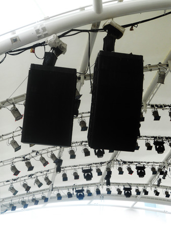 pa: lighting rig and PA speakers Stock Photo