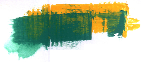 acrylic paint: green and yellow acrylic paint on corrugated card Stock Photo