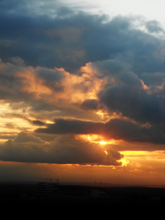 grays: Dramatic sunset in grays and golds