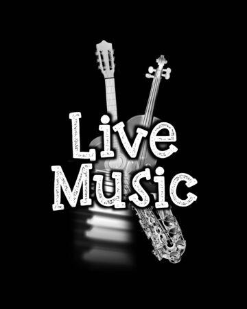 黒のライブ音楽ポスターが、言葉「ライブ音楽」と楽器のイメージの上に白