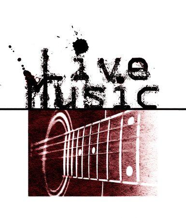 音楽ポスターが、言葉の「ライブ音楽」とアコースティック ギター、赤い色合いの画像をライブします。 写真素材