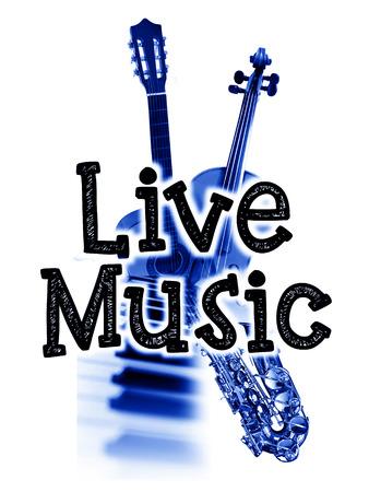 音楽ポスターが、言葉の「ライブ音楽」と楽器、青い色合い画像をライブ 写真素材