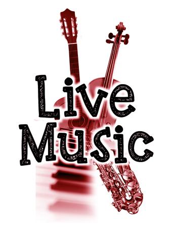 音楽ポスターが、言葉の「ライブ音楽」と楽器、赤い色合い画像をライブ