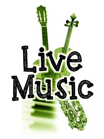 音楽ポスターが、言葉の「ライブ音楽」と楽器、緑の濃淡の画像をライブします。 写真素材
