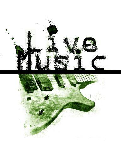 音楽ポスターが、言葉の「ライブ音楽」とエレキギター、緑の色合いの画像をライブします。
