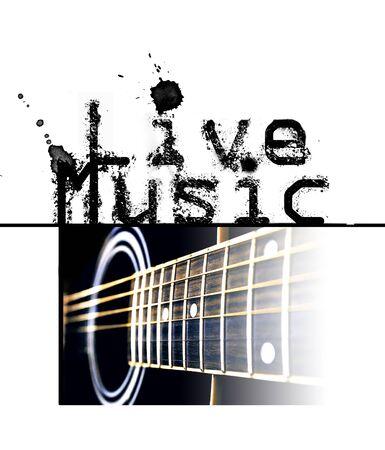 音楽ポスターが、「ライブ音楽」という言葉とギター、自然な色の画像をライブします。 写真素材