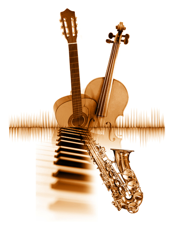 music poster, with images of musical instruments and waveform, sepia tint Stock Photo