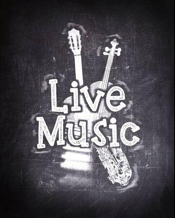 黒い黒板スタイル ライブ音楽ポスターが、言葉「ライブ音楽」とのイメージで白