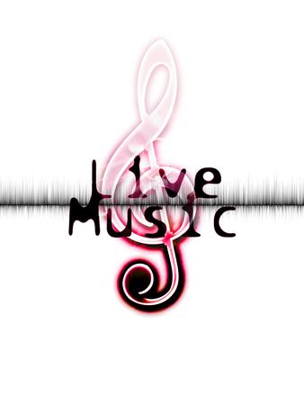 音楽ポスターが、言葉の「ライブ音楽」と赤いト音記号画像をライブ 写真素材