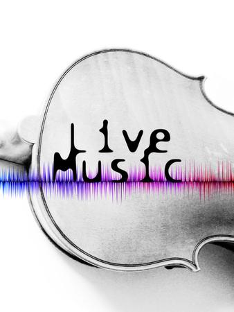 音楽ポスターが、言葉の「ライブ音楽」とヴァイオリンのバックの画像をライブします。