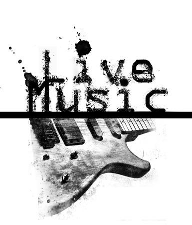 言葉「ライブ音楽」とエレク トリック ギターのイメージの黒と白のライブ音楽ポスター