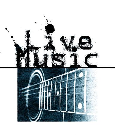 音楽ポスターが、言葉の「ライブ音楽」とアコースティック ギター、水色濃淡画像をライブ