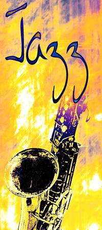 ジャズ ポスターの言葉「ジャズ」とサックスのイメージ