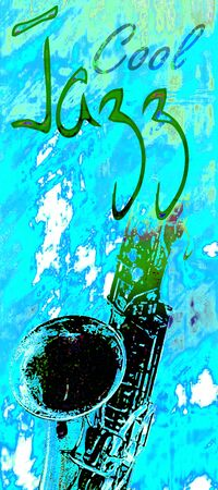 cool jazz poster, with the words cool jazz, an image of a sax, and abstract texture, bluegreen