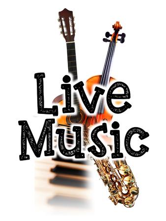 音楽ポスターが、言葉の「ライブ音楽」や楽器、自然の温かみのある色調画像をライブ 写真素材