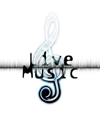 「ライブ音楽」という言葉とト音記号と波形のイメージのライブ音楽ポスター