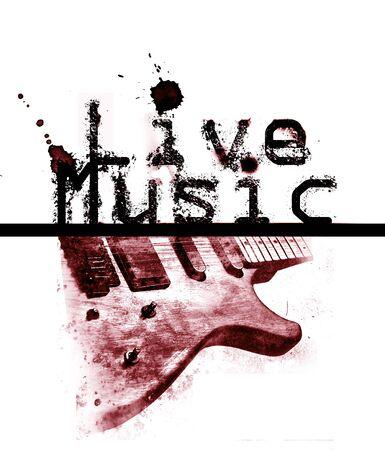 音楽ポスターが、言葉の「ライブ音楽」とエレキギター、赤の画像をライブします。