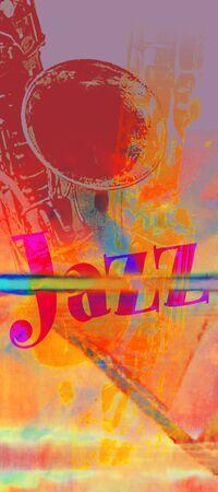 サックスとジャズ」という言葉と温かみのある色調でジャズのポスター