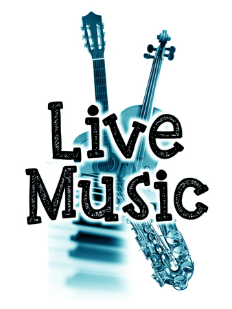 ライブ音楽ポスターが、言葉の「ライブ音楽」と水色のイメージ