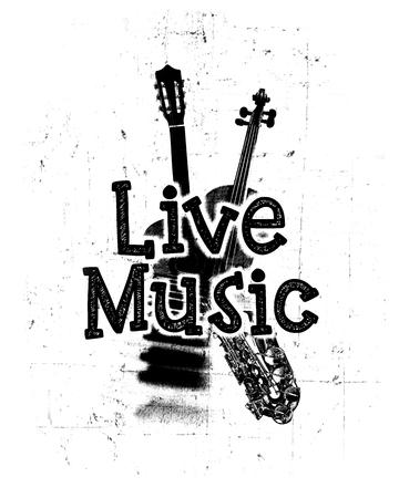 黒と白のライブ音楽ポスターが、言葉「ライブ音楽」と楽器のイメージ