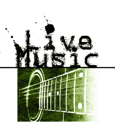 音楽ポスターが、言葉の「ライブ音楽」とアコースティック ギター緑画像をライブ