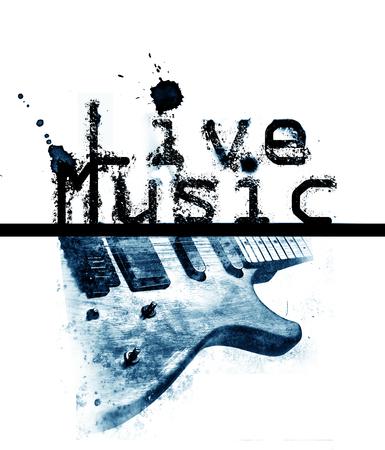 言葉「ライブ音楽」とエレキギター、シアンのイメージのライブ音楽ポスター
