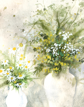 semi-abstract watercolor of flowers in vases, yellowgreen Stock Photo