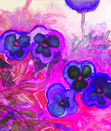 semi-abstract watercolor of flowers (pansies) Stock Photo