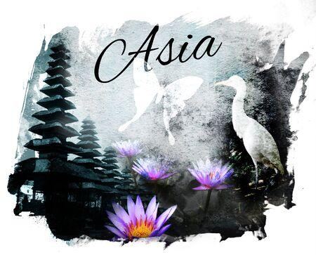 言葉「アジア」と「アジア」のコラージュ。