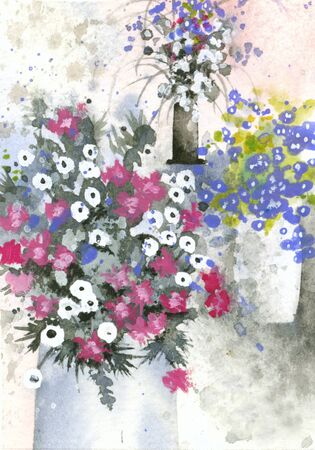 semi-abstract watercolor of flowers in vases