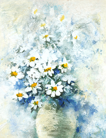 semi-abstract watercolor of flowers in vase