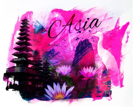Asia collage, with Balinese temple and lotus flowers, and the word Asia, purple tint Stock Photo